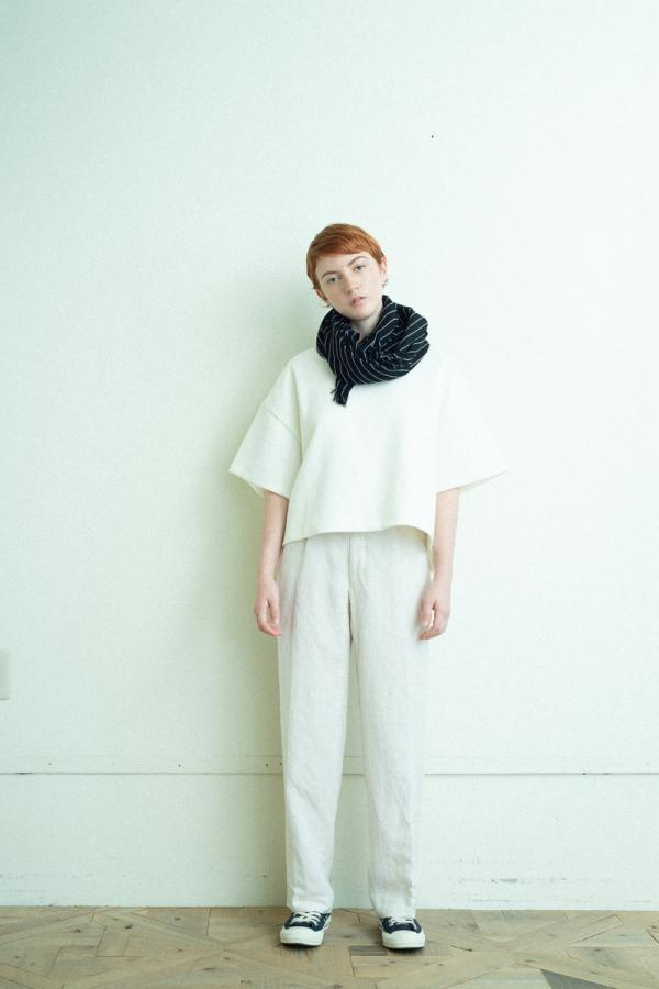 linen rayon two-tuck tapered pants