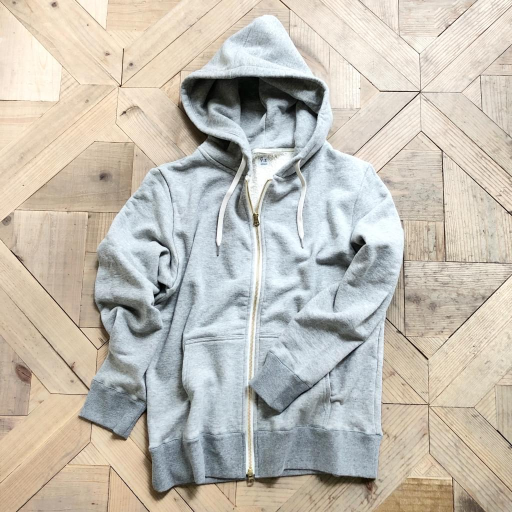 french terry zip parka/gray