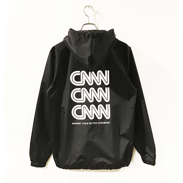 CNNN hooded coach Jacket/black/white