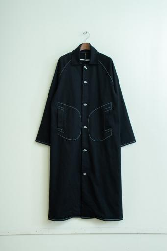 black denim coat/black