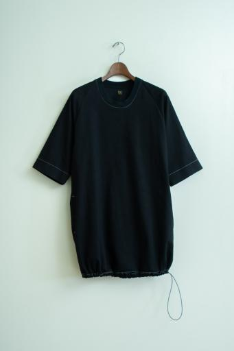 black denim poncho-shirt/black