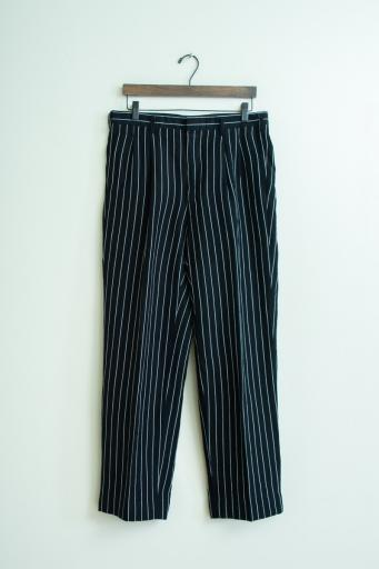linen rayon two-tuck tapered pants/black stripe