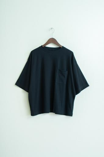 crepe pocket T-shirt/black