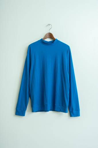 crepe mock-neck long-shirt/blue