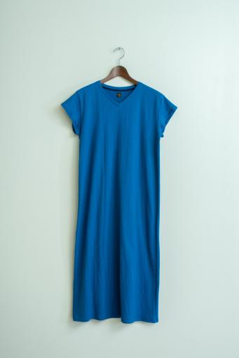 crepe french-sleeve dress/blue