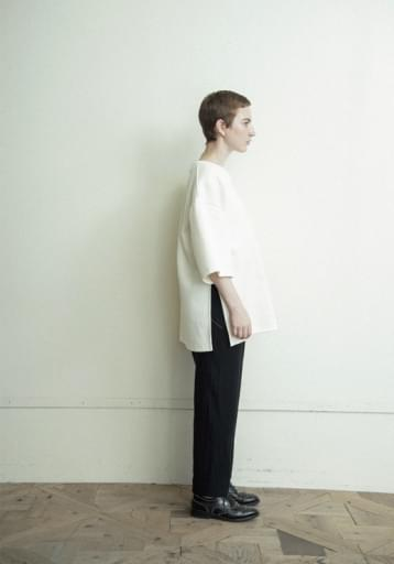 honeycomb over slit shirt/ivory