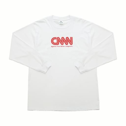 CNNN print long-sleeve T-shirt/white/red