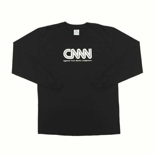 CNNN print long-sleeve T-shirt/black/white