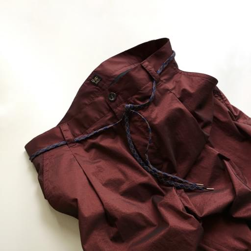 nylon chambray 4/5 pants/bordeaux