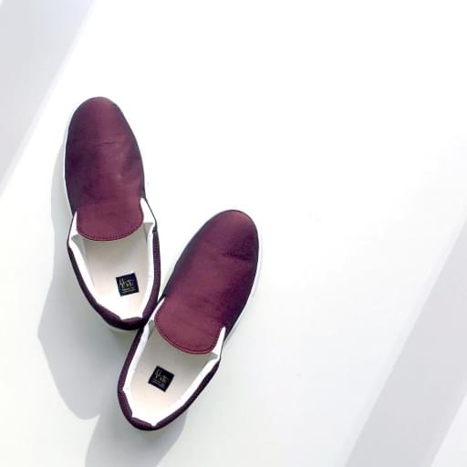 nylon chambray slip-on shoes/bordeaux