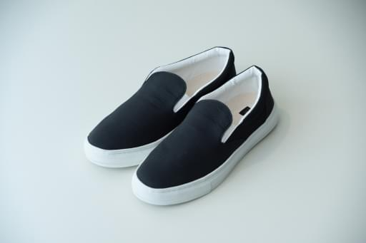 nylon chambray slip-on shoes/black