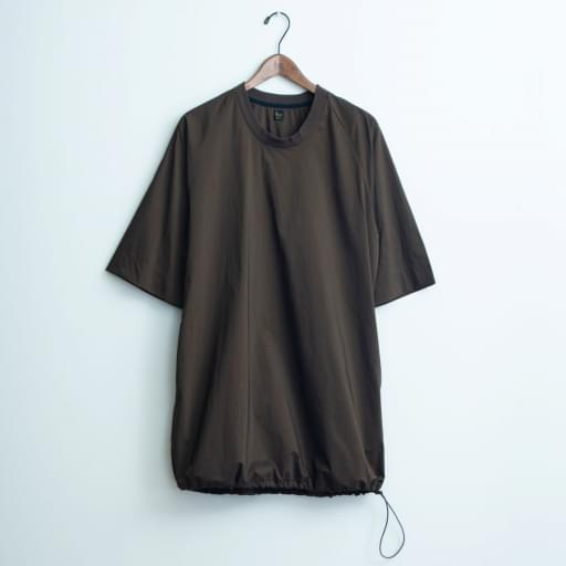 nylon chambray poncho-shirt/oak