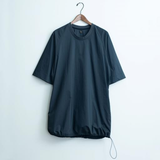 nylon chambray poncho-shirt/black