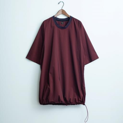 nylon chambray poncho-shirt/bordeaux